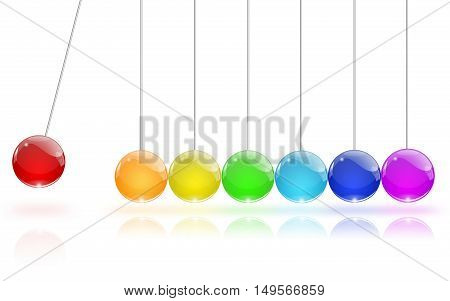 Pendulum of colored glass, illustration on white