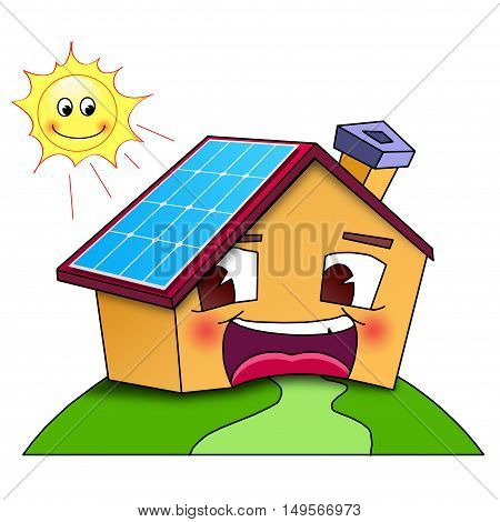 Happy home with solar panels. Illustration on white