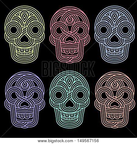 Set Of Parallel Lines Skulls On Blackground