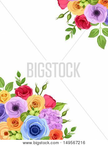 Vector flyer background with red, orange, yellow, blue and purple roses, lisianthus and anemone flowers and green leaves.