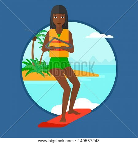 An african sports woman wakeboarding on the sea. Wakeboarder making tricks. Woman studying wakeboarding. Woman riding wakeboard. Vector flat design illustration in the circle isolated on background.