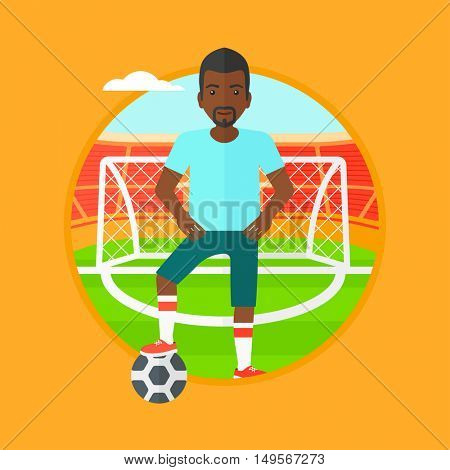 An african-american sportsman standing with football ball on the football stadium. Football player with a soccer ball on the field. Vector flat design illustration in the circle isolated on background