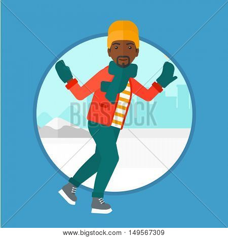 An african-american man ice skating on frozen lake on a city background. Young sportsman ice skating outdoors on a pond. Vector flat design illustration in the circle isolated on background.