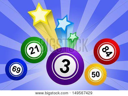 Bingo ball with stars illustration on blue