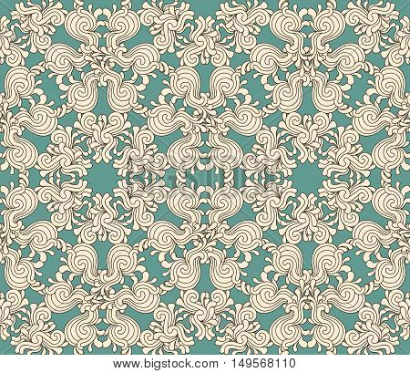 Seamless Decorative Zentangle Graphic Pattern On Teal Background