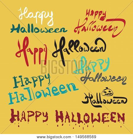 Set halloween invitation or greeting card template on hand written lettering phrase Happy Halloween. Can be used for banner poster and web design