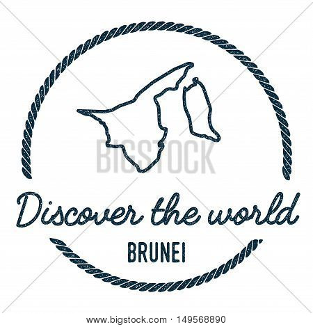 Brunei Darussalam Map Outline. Vintage Discover The World Rubber Stamp With Brunei Darussalam Map. H