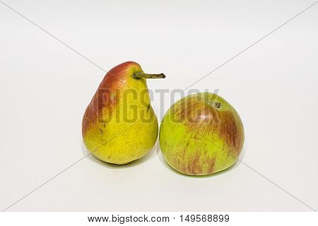 apples and pears on white background. isolated