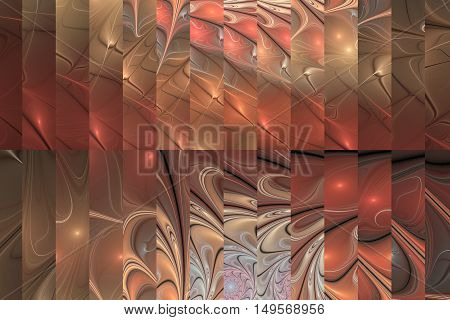 Abstract fractal design in pastel pink beige and grey colors.