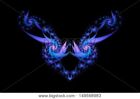 Abstract fantasy ornament on white background. Colorful fractal design in blue and purple colors.