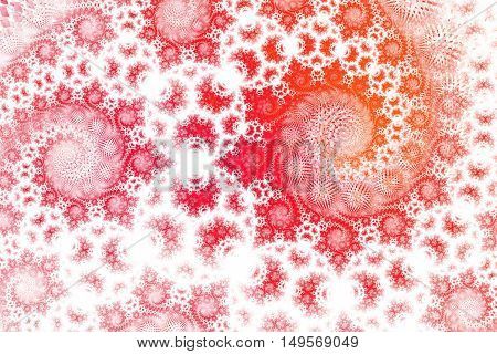 Abstract fantasy spiral ornament on white background. Computer-generated fractal in red orange and rose colors.