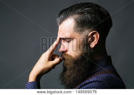 Man Thinks With Closed Eyes
