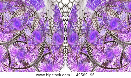 Abstract fantasy ornament on white background. Symmetrical pattern. Creative fractal design in grey pink and violet colors.