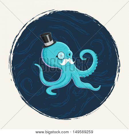 A gentleman octopus character illustration