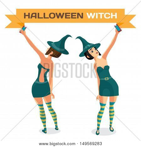 Beautiful girl in a witch costume makes selfie. Front and rear views. Vector flat cartoon illustration isolated on a white background