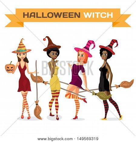 Set of beautiful girls witches in dress hat and stockings with a broom and pumpkin. Vector flat cartoon illustration isolated on a white background