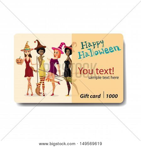 Beautiful girls witches in dress hat and stockings with a broom and pumpkin. Sale discount gift card. Branding design for shop or rental of costumes for Halloween