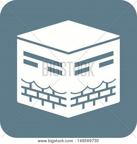 Makkah, kaaba, hajj icon vector image.