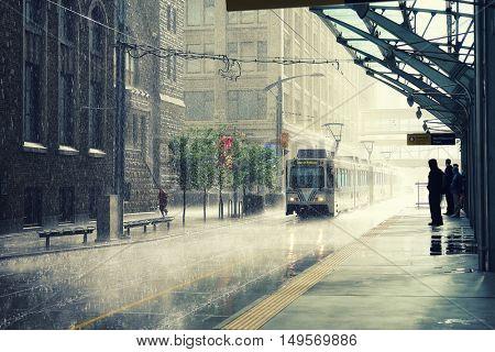 Rain in Calgary city, Canada