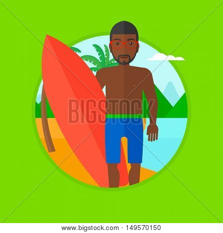 An african-american young surfer standing with a surfboard on the beach. Professional surfer with a surf board at the beach. Vector flat design illustration in the circle isolated on background.