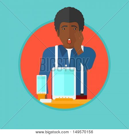 An african-american young astonished shopper with open mouth looking at digital tablet and smartphone through the shop window. Vector flat design illustration in the circle isolated on background.