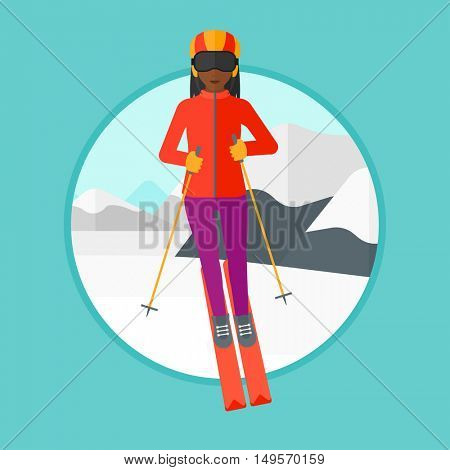 An african-american young woman skiing on the background of snow capped mountain. Female skier skiing downhill in mountains. Vector flat design illustration in the circle isolated on background.