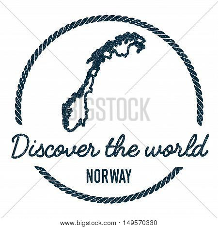 Norway Map Outline. Vintage Discover The World Rubber Stamp With Norway Map. Hipster Style Nautical