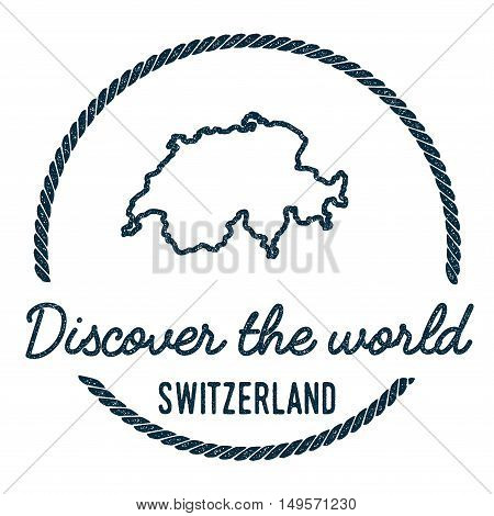 Switzerland Map Outline. Vintage Discover The World Rubber Stamp With Switzerland Map. Hipster Style