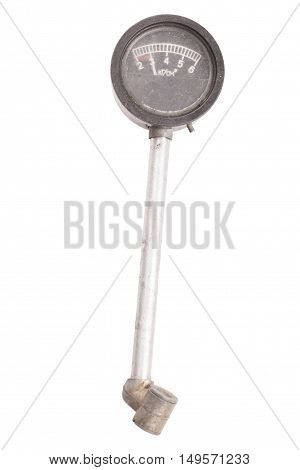 Manometer For Car Tyre Pressure Setting Isolated On White Background. Clipping Path