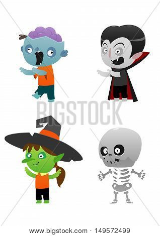 zombie vampire witch and skeleton on a white background isolated