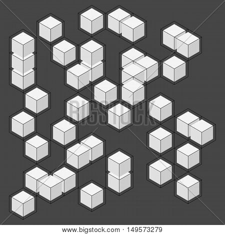 Vector abstract boxes background. Modern technology illustration with square mesh. Digital geometric abstraction with lines and shapes. Cube cell.