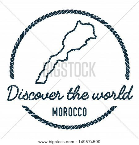 Morocco Map Outline. Vintage Discover The World Rubber Stamp With Morocco Map. Hipster Style Nautica