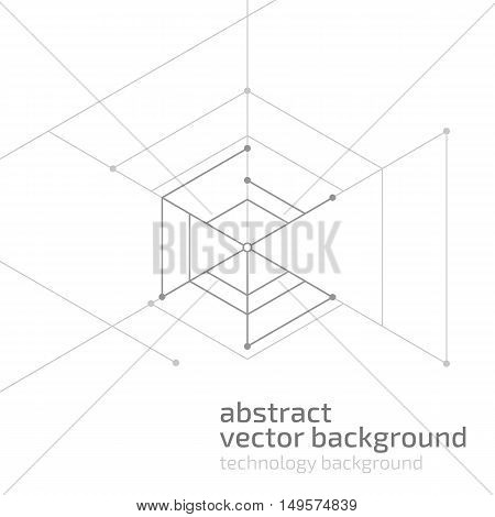 Vector abstract boxes background. Modern technology illustration with square mesh. Digital geometric abstraction with lines and sample text. Cube cell.