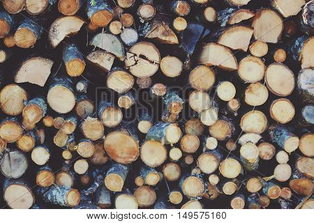 Natural wooden background. Closeup of chopped firewood. Pile of wood logs.