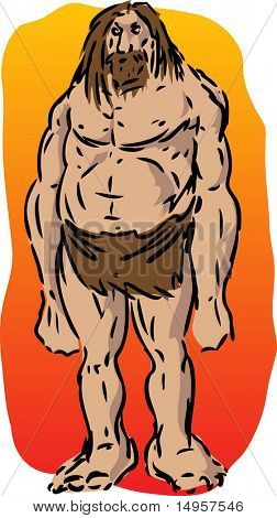 Caveman illustration, sketch of brutish muscular primitive man