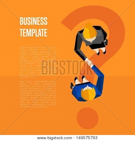 Business template with space for text, vector illustration. Top view of business women shaking hands on orange background with question mark. Manager business meeting to employees. Union symbol