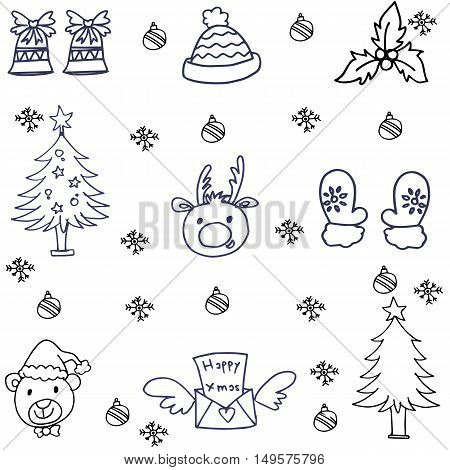 Doodle of christmas set collection hand draw illustration