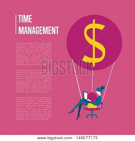 Young business woman with laptop flying on hot air balloon with office chair instead of basket. Time management banner, vector illustration. Time is money, abstract concept with space for text