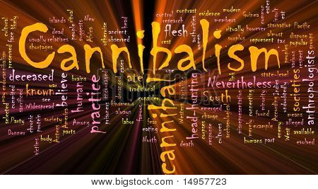 Word cloud concept illustration of  cannibalism cannibal glowing light effect