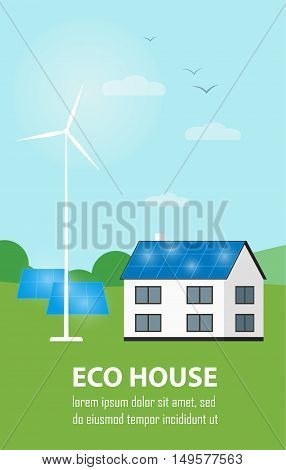 Eco house vector illustration. House with blue solar panels on the roof. Wind generator turbine near house. The production of energy from the sun and wind. Modern alternative energy generation