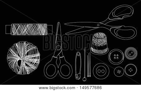 illustration with set of sewing items isolated on black background