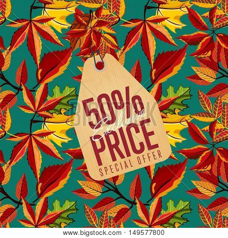 Autumn seasonal sale badge, vector illustration. Exclusive price, special offer label in vintage style on background of colorful autumn leaves. Autumnal discount template.