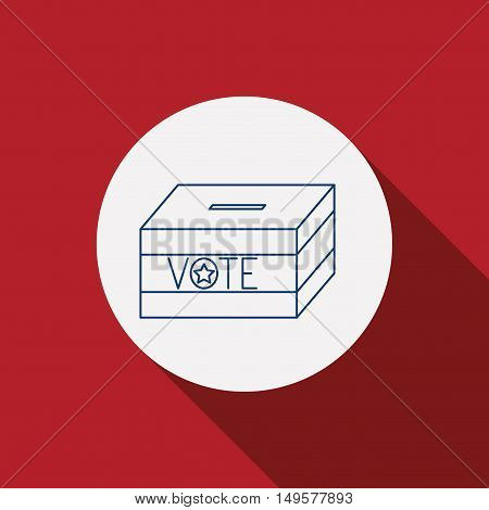 Box icon. Vote election nation and government theme. Red background. Vector illustration