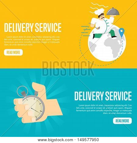 Chef in uniform with restaurant cloche on yellow background. Human hand points at stopwatch timer on blue background. Delivery service website templates, vector illustration. Express logistics