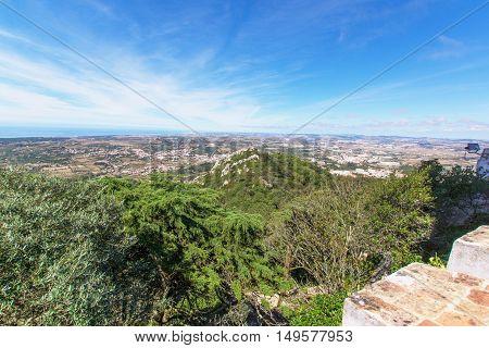 View of the Moors Castle (Castelo dos Mouros) from Palacio da Pena in Sintra