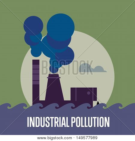 Industrial pollution banner, vector illustration. Air pollution by smoke coming out of two factory chimneys. Environmental problems. Smoking factory concept. Heavy industry plant.