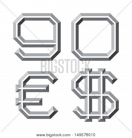 Gray faceted nine zero numbers euro and dollar sign. Prismatic retro font.