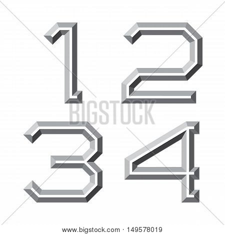 One two three four gray faceted numbers. Prismatic retro font.