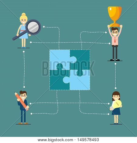 Social network and teamwork banner with connected people focused on winning, vector illustration on gray background. Communication mapping. Business success. Win concept. Collaboration and partnership
