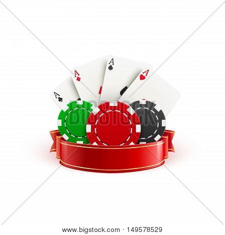 casino realistic icon with casino chips casino cards and red ribbon isolated on white